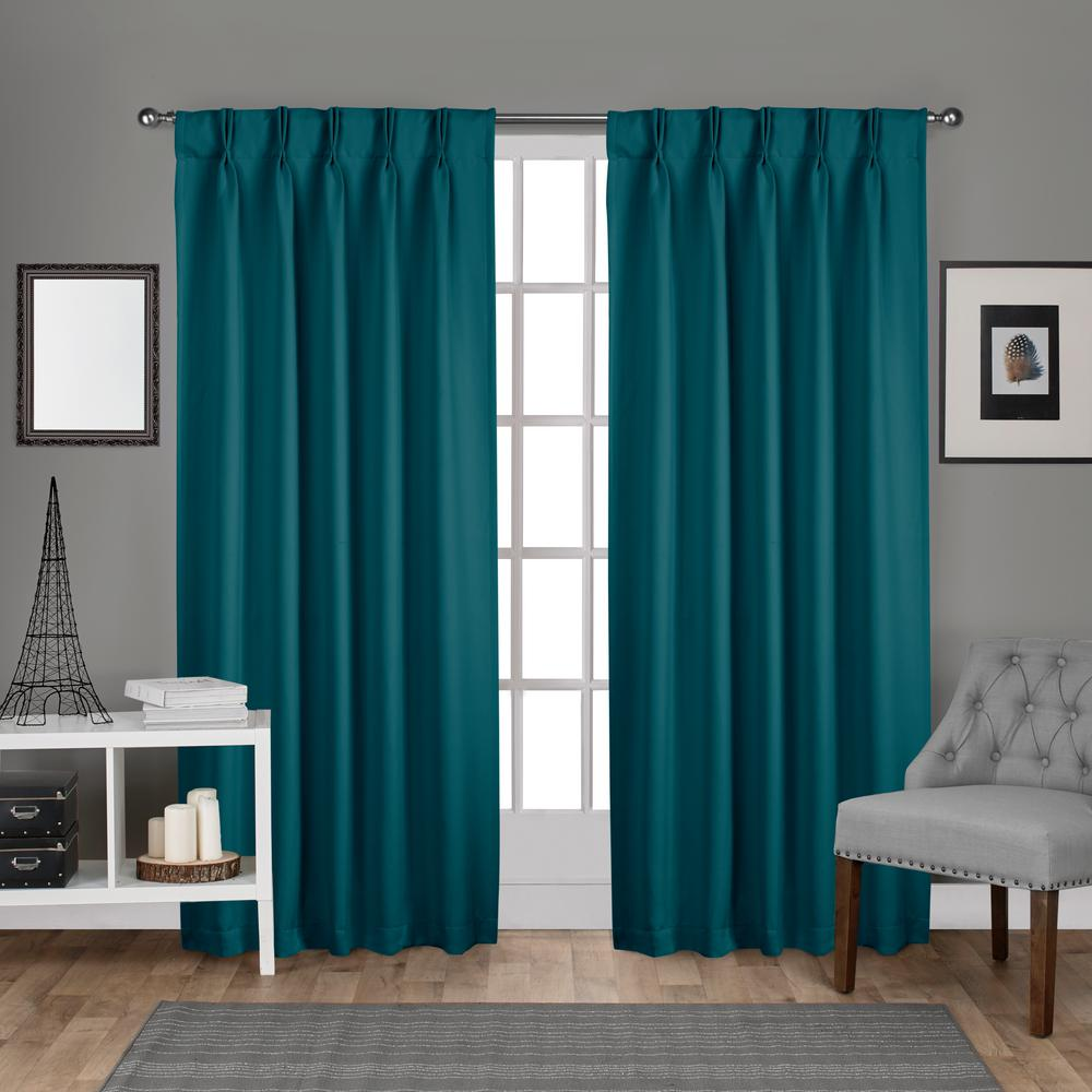 Teal Blackout Curtains Sateen 30 In W X 108 In L Woven Blackout Pinch Pleat Top Curtain Panel In Teal 2 Panels
