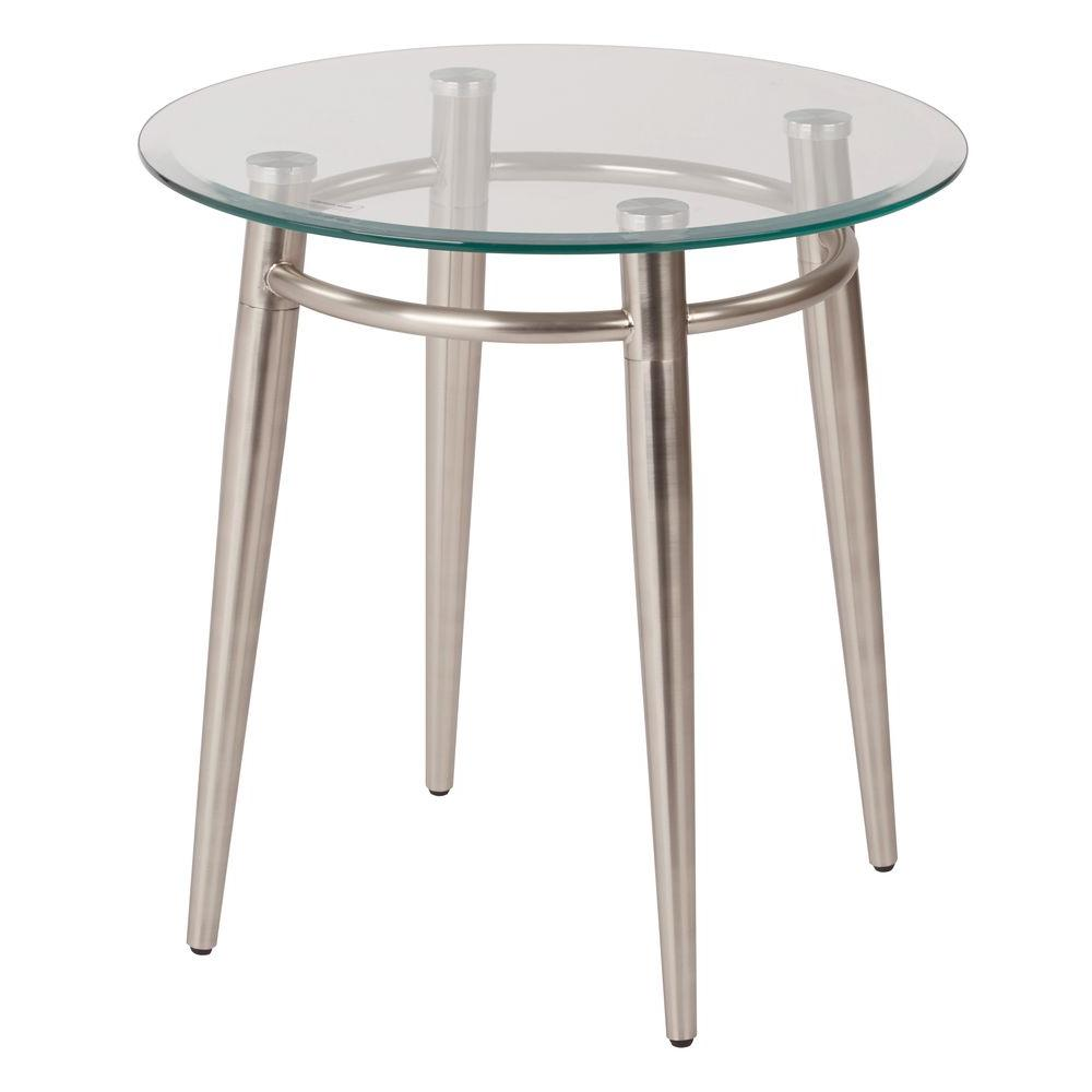 Small Round Glass End Table Brooklyn Nickel Brush Glass Top End Table