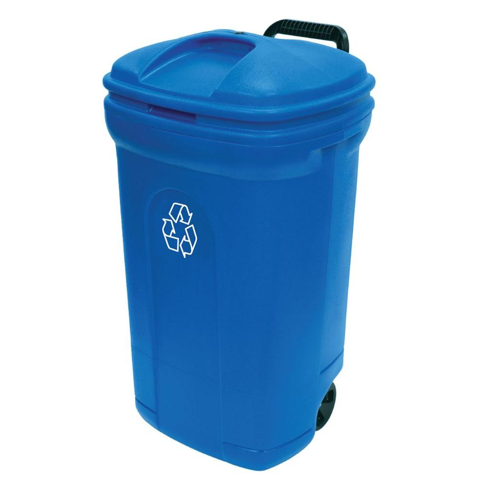 Cool Trash Bins United Solutions 34 Gal Wheeled Outdoor Trash Can Recycling In Blue