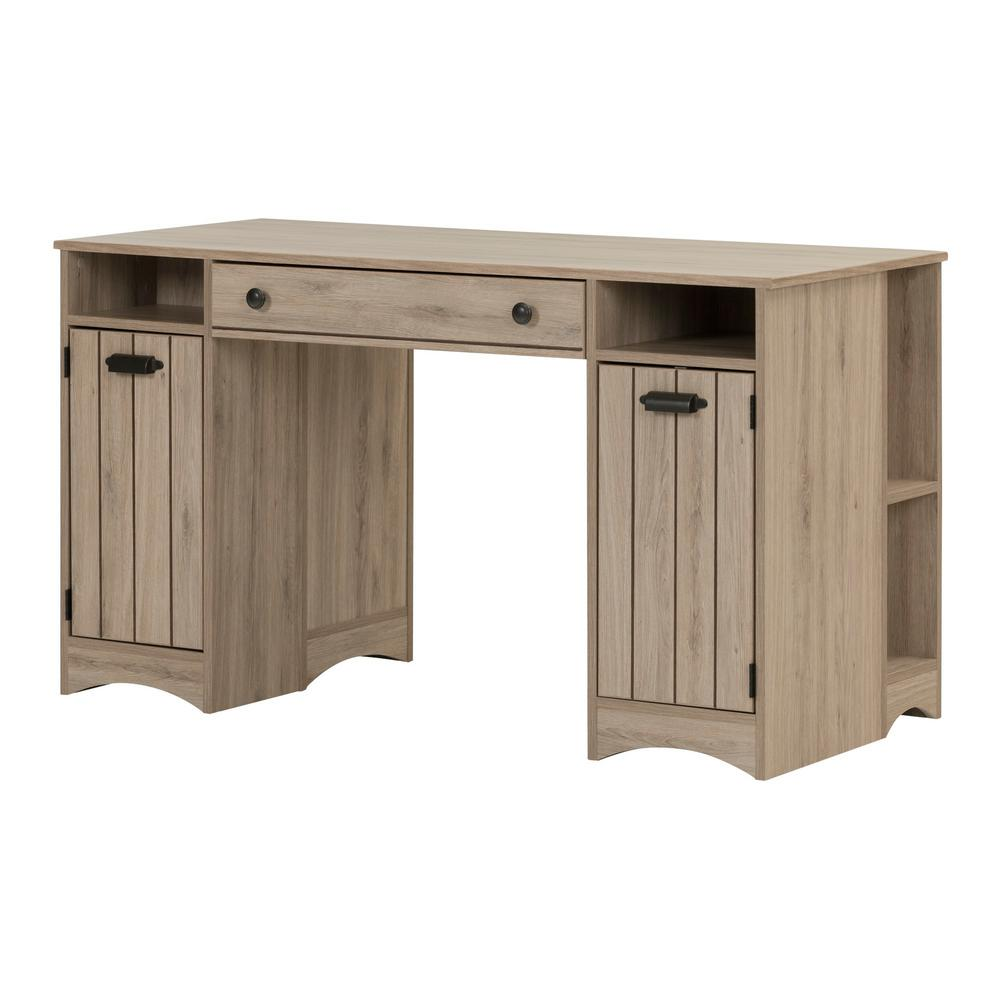 Desks With Drawers South Shore Artwork Straight Desk With Drawers Desk In Rustic Oak