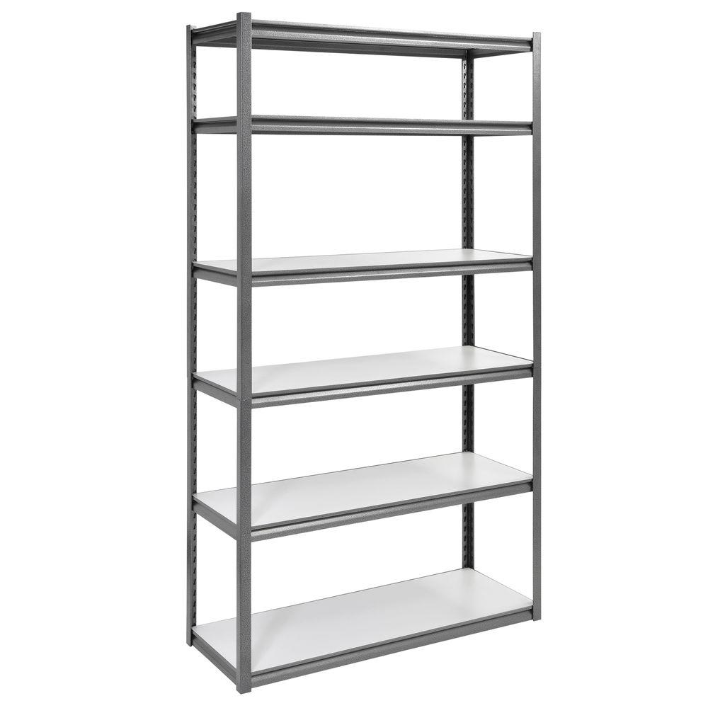 Storage Racks Edsal 84 In H X 48 In W X 18 In D 6 Shelf Steel Storage Shelving Unit In Silvervein