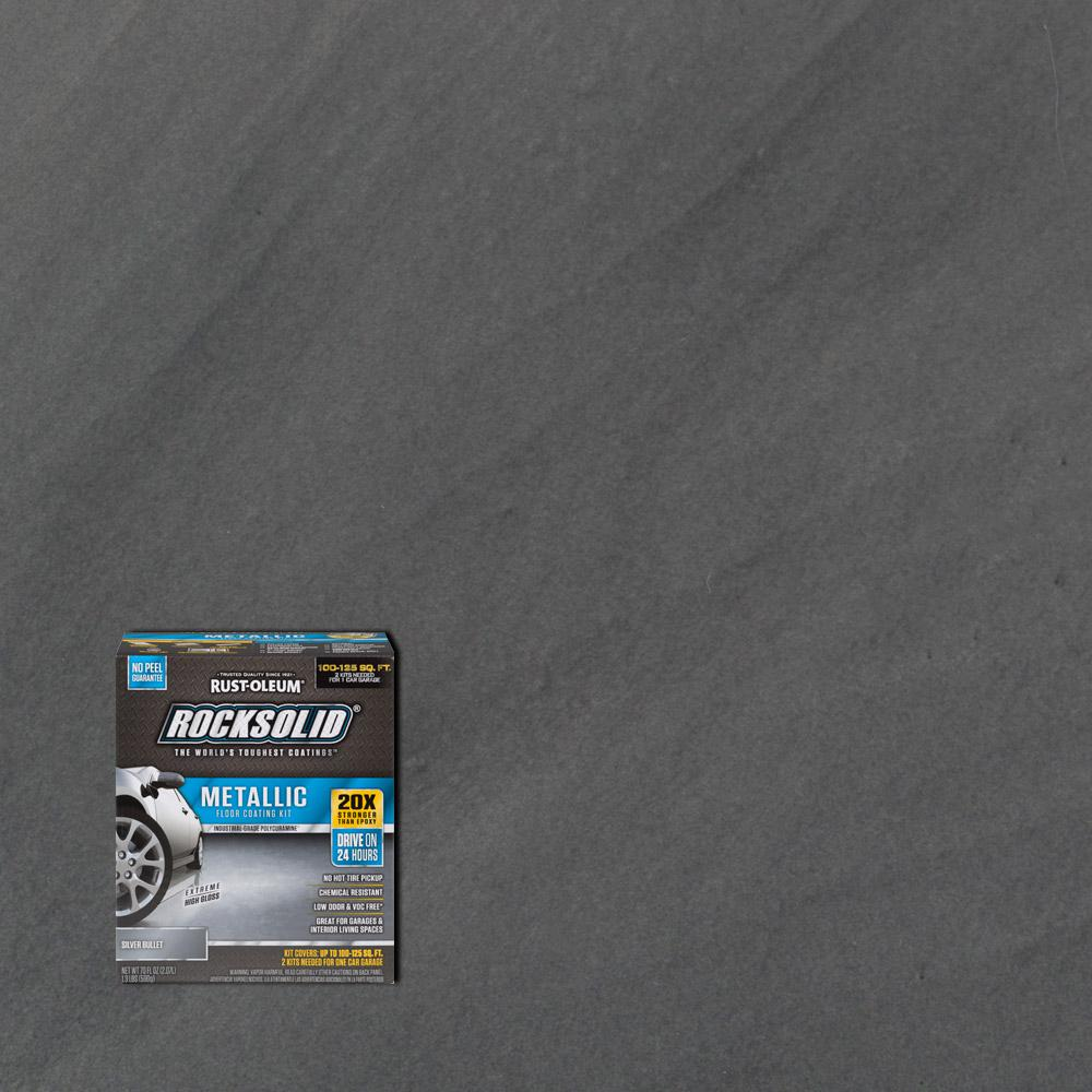 Garage Floor Coating Tucson Cost Rust Oleum Rocksolid 70 Oz Metallic Silver Bullet Garage Floor Kit 2 Pack