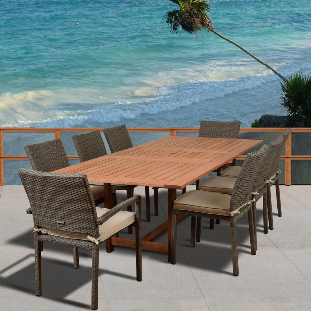 9 Piece Outdoor Dining Set Amazonia Knight 9 Piece Teak Wicker Rectangular Outdoor Dining Set With Off White Cushions