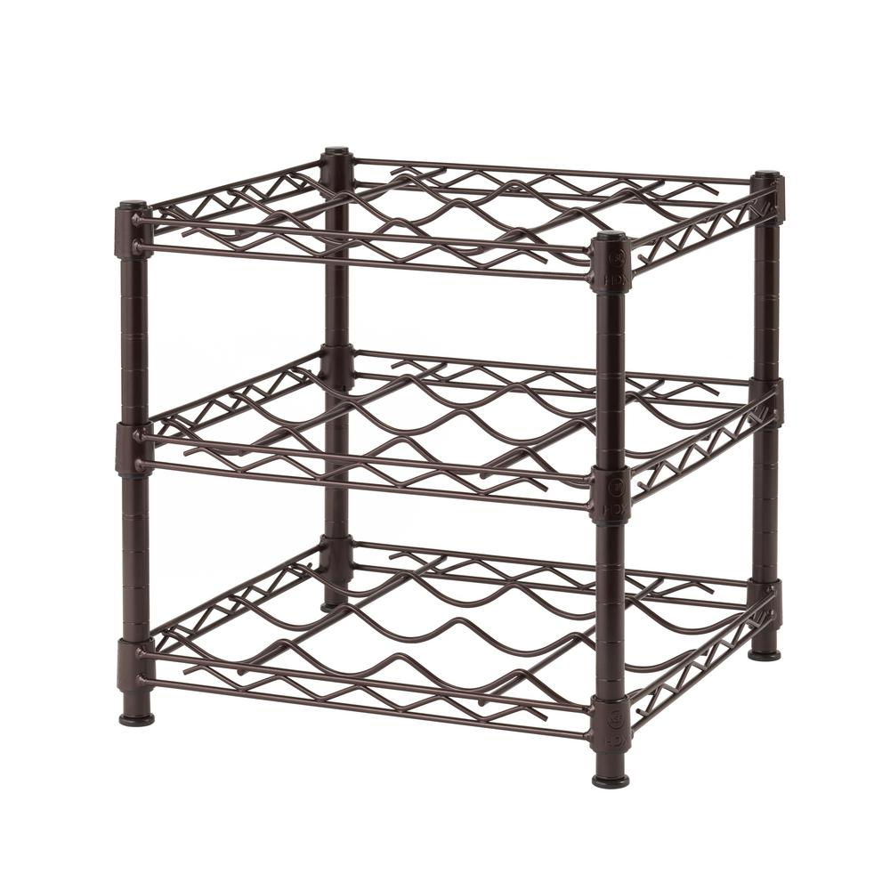 Metal Wine Racks Hdx 3 Shelf Countertop Wire Wine Rack In Antique Bronze