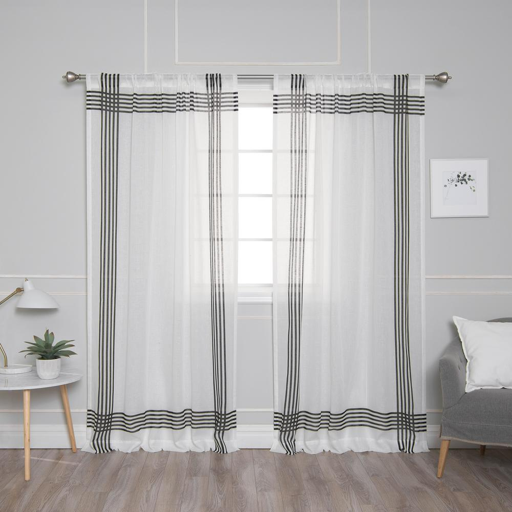 Black Stripe Curtains Best Home Fashion White Sheer Cross Stripe Border Curtain 52 In W X 84 In L 2 Pack