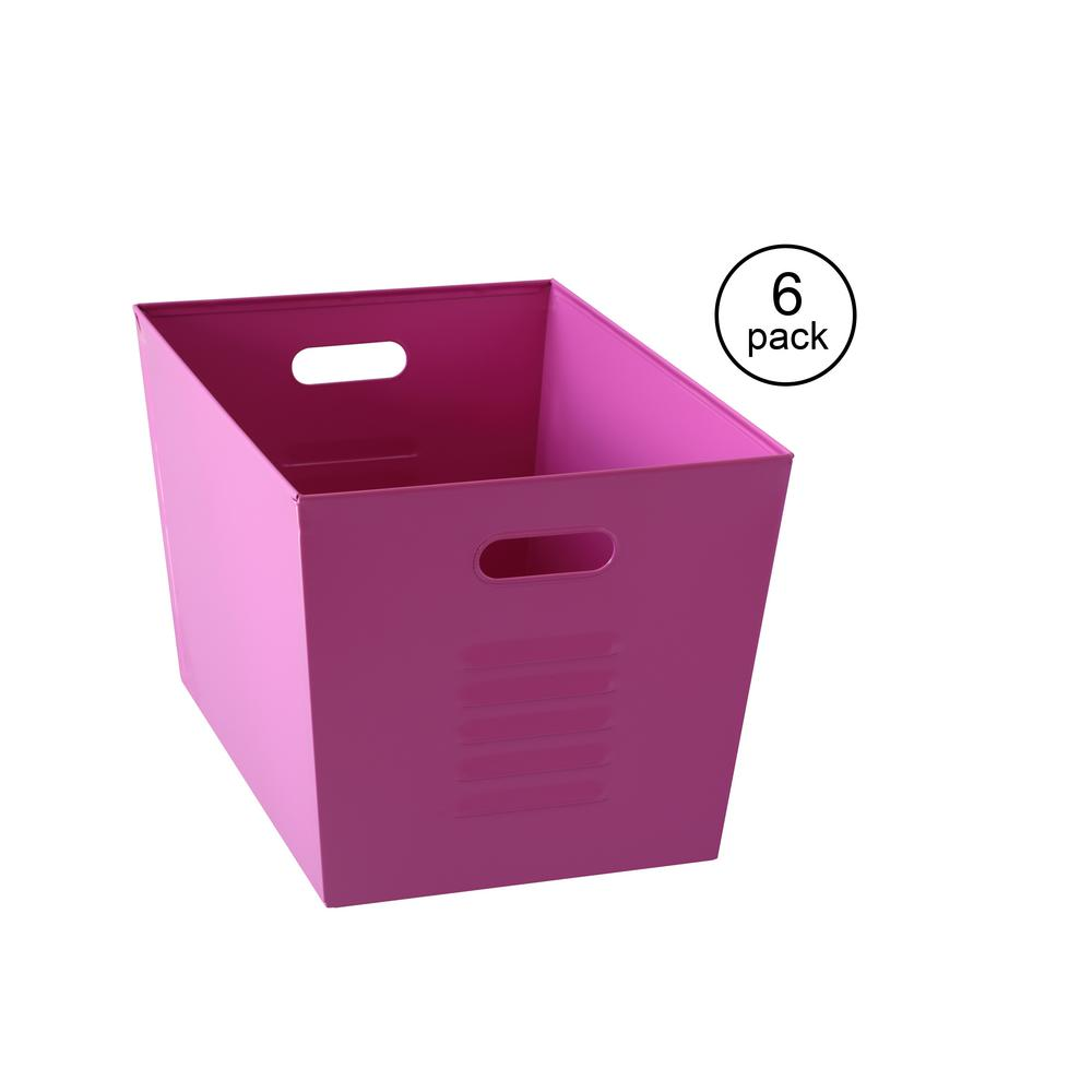Pink Bins Muscle Rack 12 In W X 11 In H X 17 In D Galvanized Steel Pink Utility Storage Bins 6 Pack