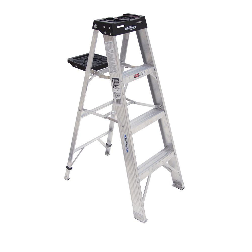 Werner 4 Ft Aluminum Step Ladder With 300 Lb Load