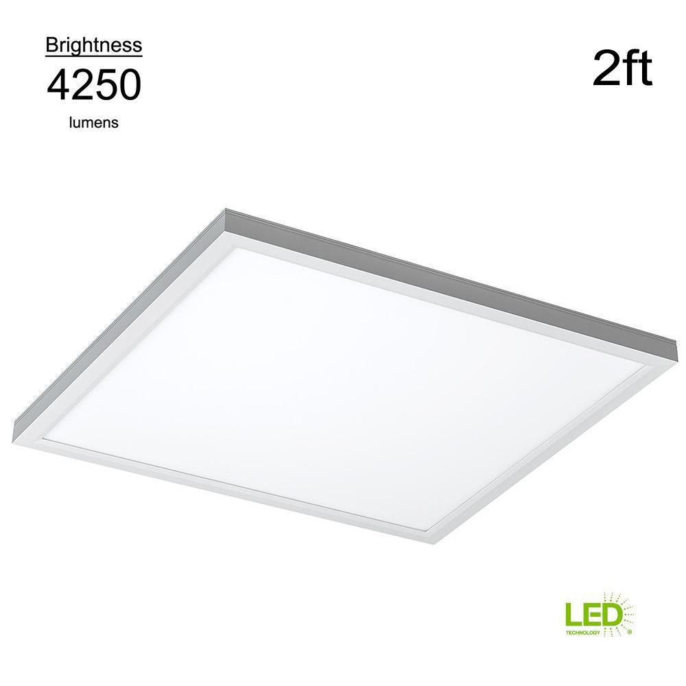 Panel Light Eti Commercial Drop Ceiling 2 Ft X 2 Ft White 5000k Dimmable Integrated Led Flat Panel Troffer