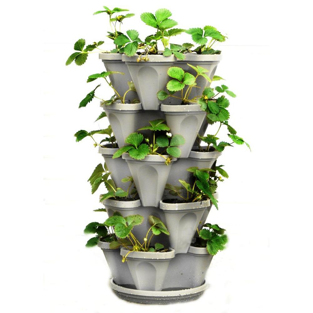 Planter For Herbs Mr Stacky 12 In X 5 5 In Stone Plastic Vertical Stackable Planter 5 Pack