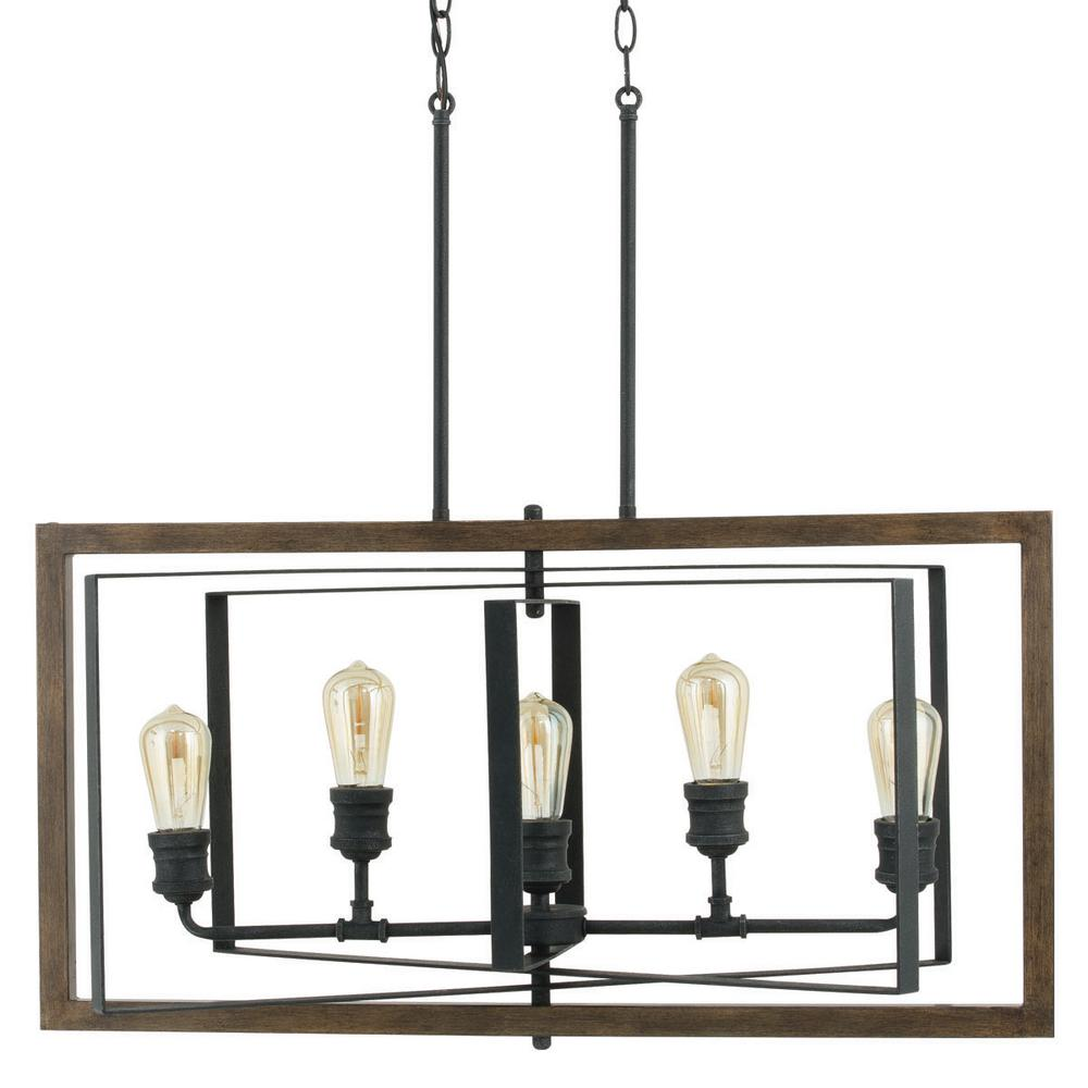 Chandelier Height 10 Foot Ceiling Home Decorators Collection Palermo Grove 31 88 In 5 Light Black Gilded Iron Linear Chandelier