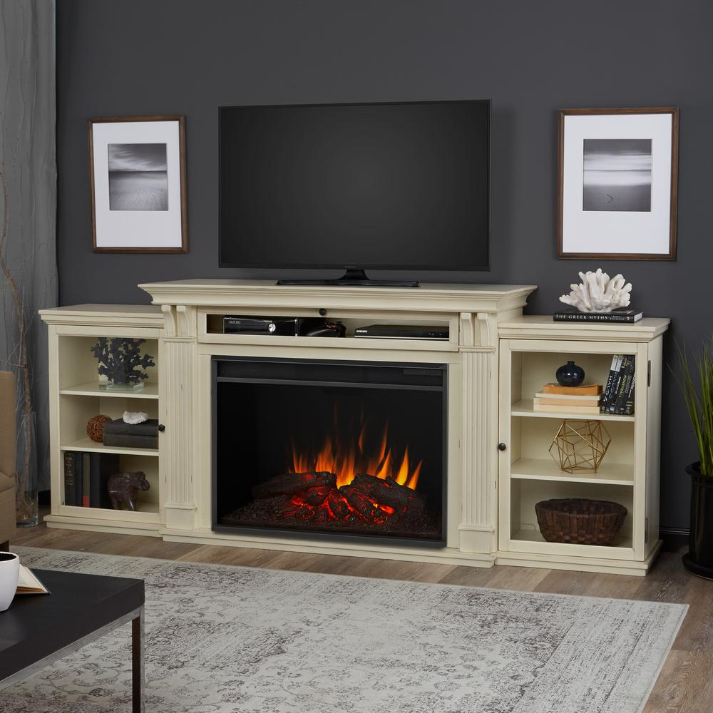 Fireplace Tv Combo Tracey Grand 84 In Electric Fireplace Tv Stand Entertainment Center In Distressed White