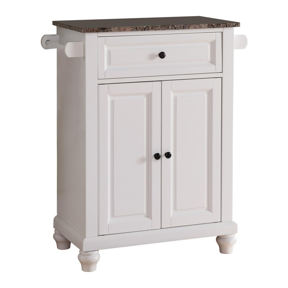 White Marble Island Kings Brand Furniture White With Marble Finish Top Storage Kitchen