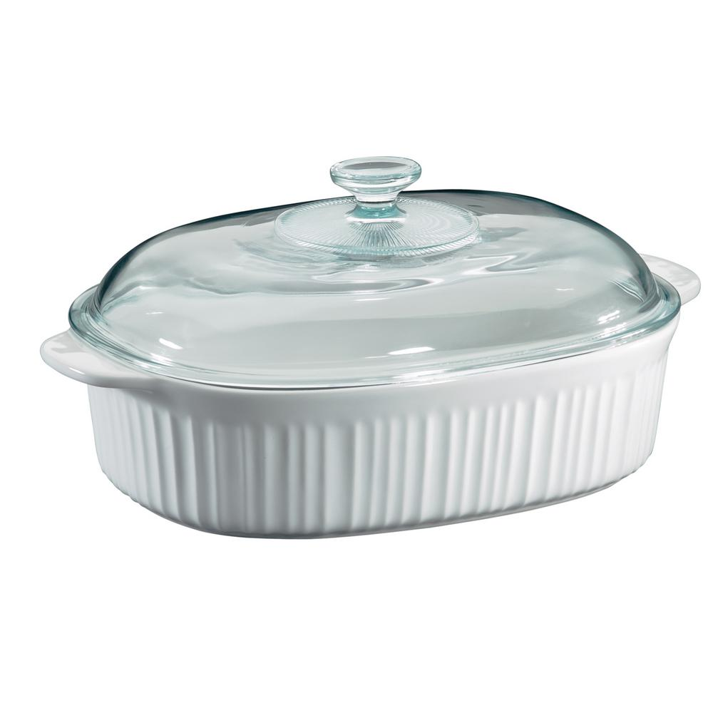 Glass Plate Cover For Microwave French White 4 Qt Oval Ceramic Casserole Dish With Glass Cover