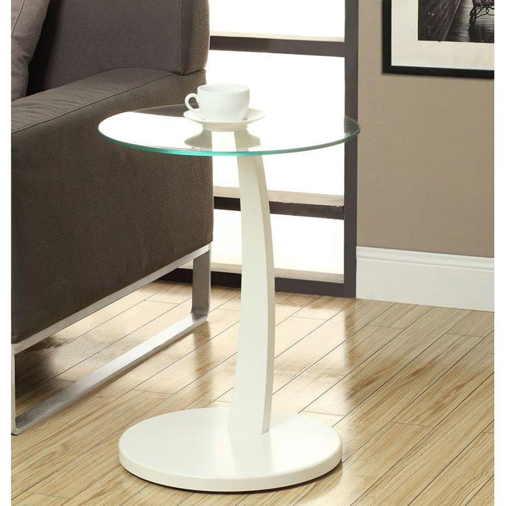 End Table For Living Room Bentwood White Glass Top End Table