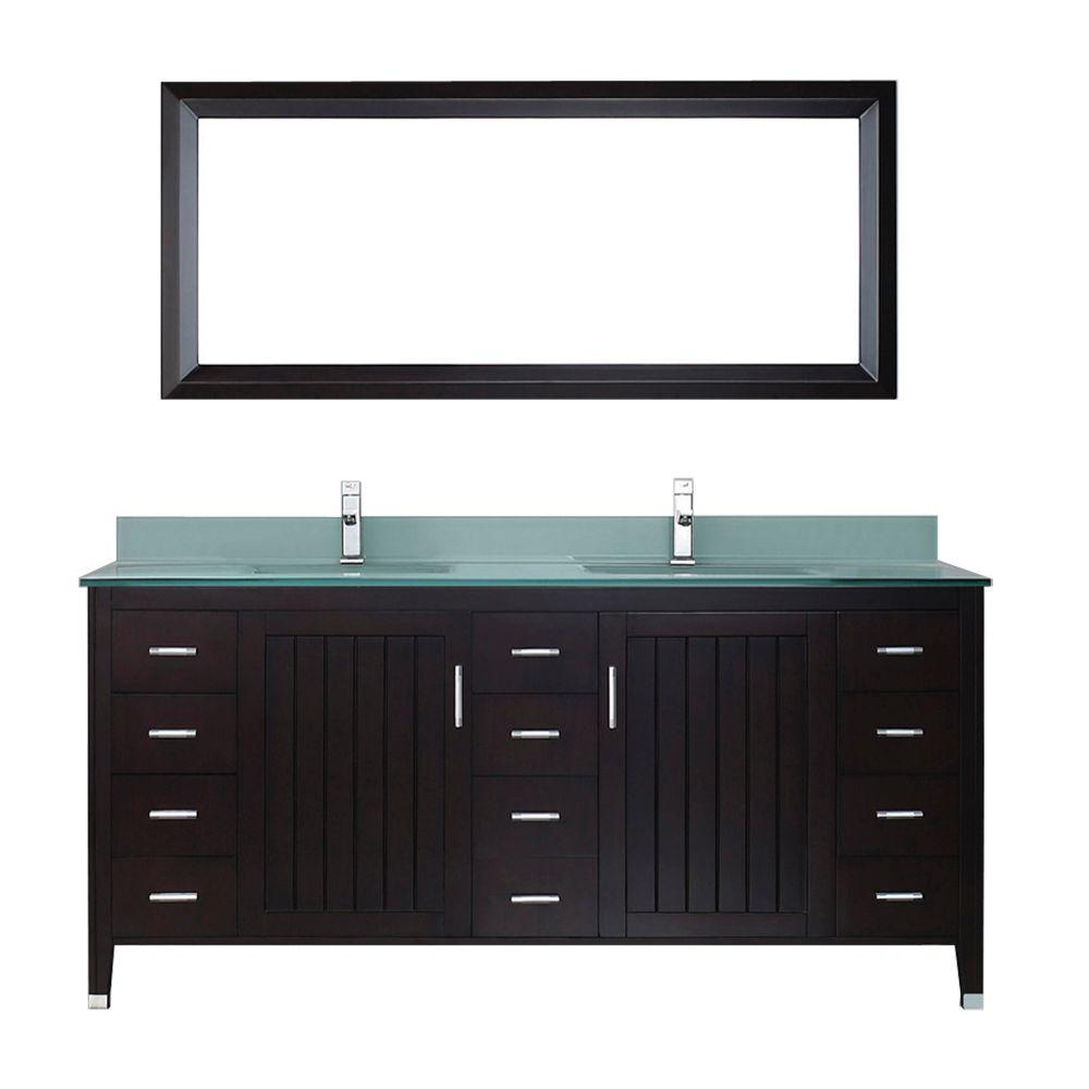 Jackie Glass Studio Bathe Jackie 72 In Vanity In Chai With Glass Vanity Top In Mint And Mirror