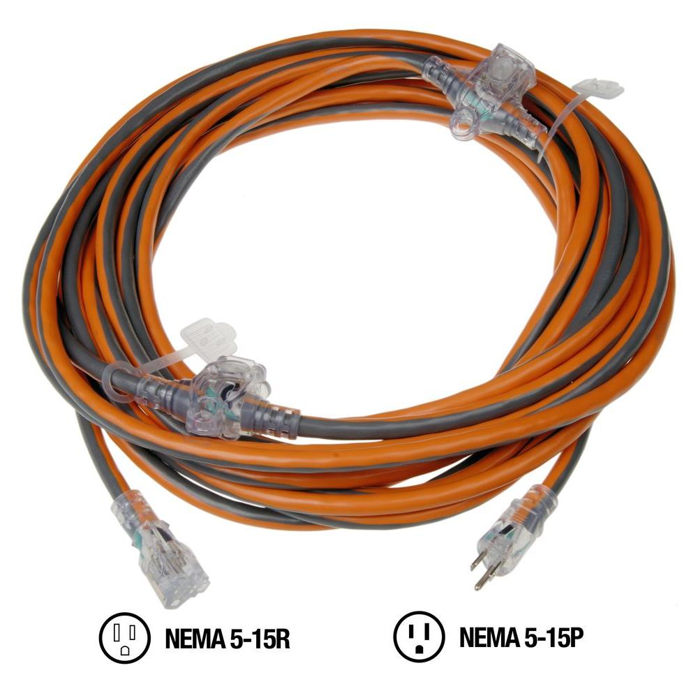 Garage Heater Extension Cord Ridgid 50 Ft 14 3 3 Outlet In Line Extension Cord
