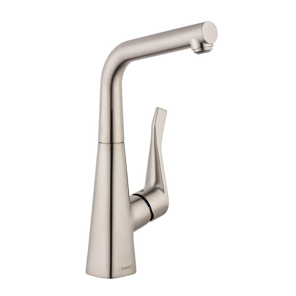 Hansgrohe Metris Single Handle Pull Out Sprayer Kitchen Faucet In - Hansgrohe Metris