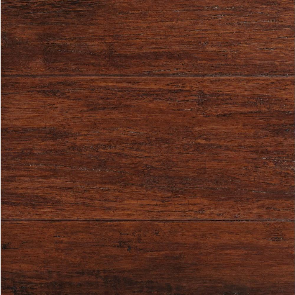 Plancher Home Depot Hand Scraped Strand Woven Brown 3 8 In T X 5 1 8 In W X 36 In L Engineered Click Bamboo Flooring