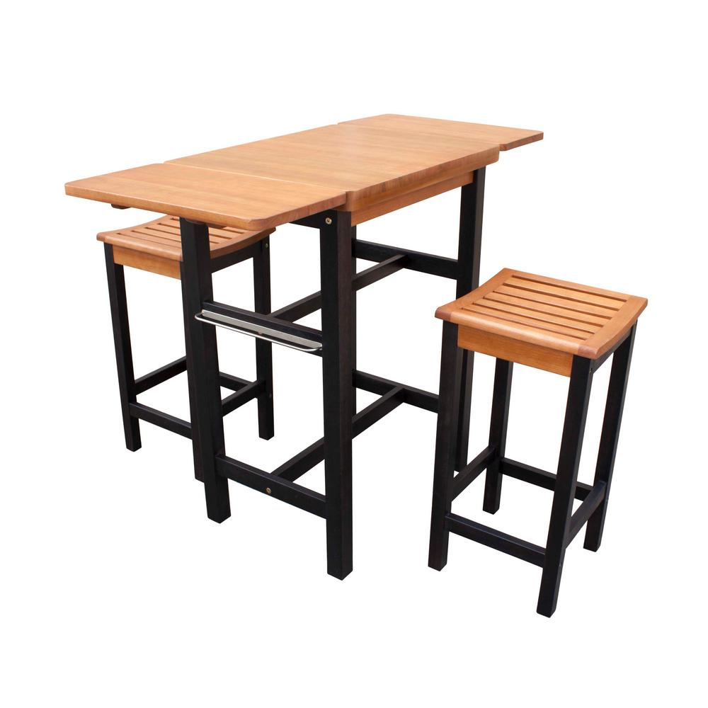 Stools Kitchen Islands Northbeam 3 Piece Dual Toned Wood Kitchen Island Set With 2 Stools