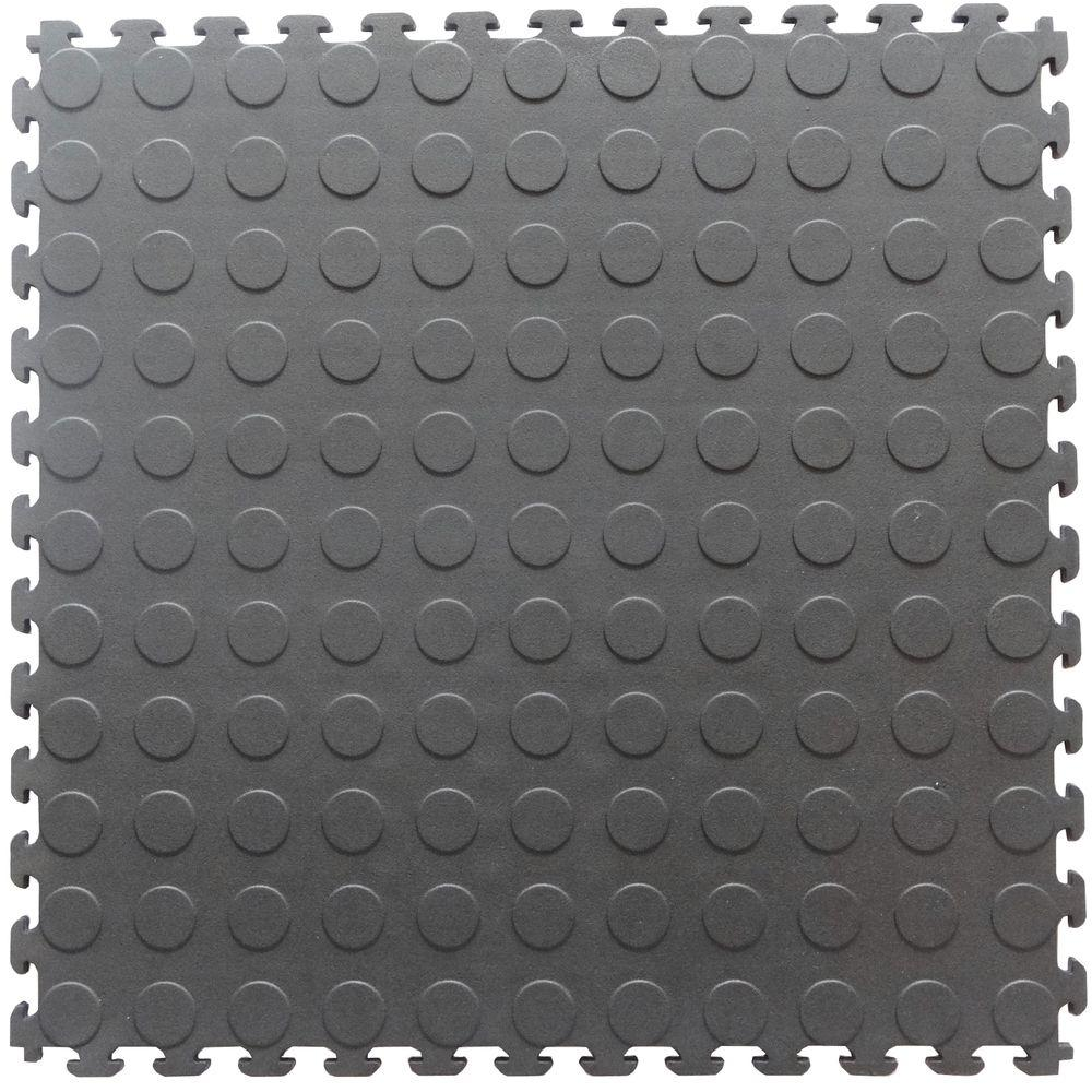 Eva Garage Floor Tiles Norsk Multi Purpose 18 3 In X 18 3 In Dove Gray Pvc Garage Flooring Tile With Raised Coin Pattern 6 Pieces