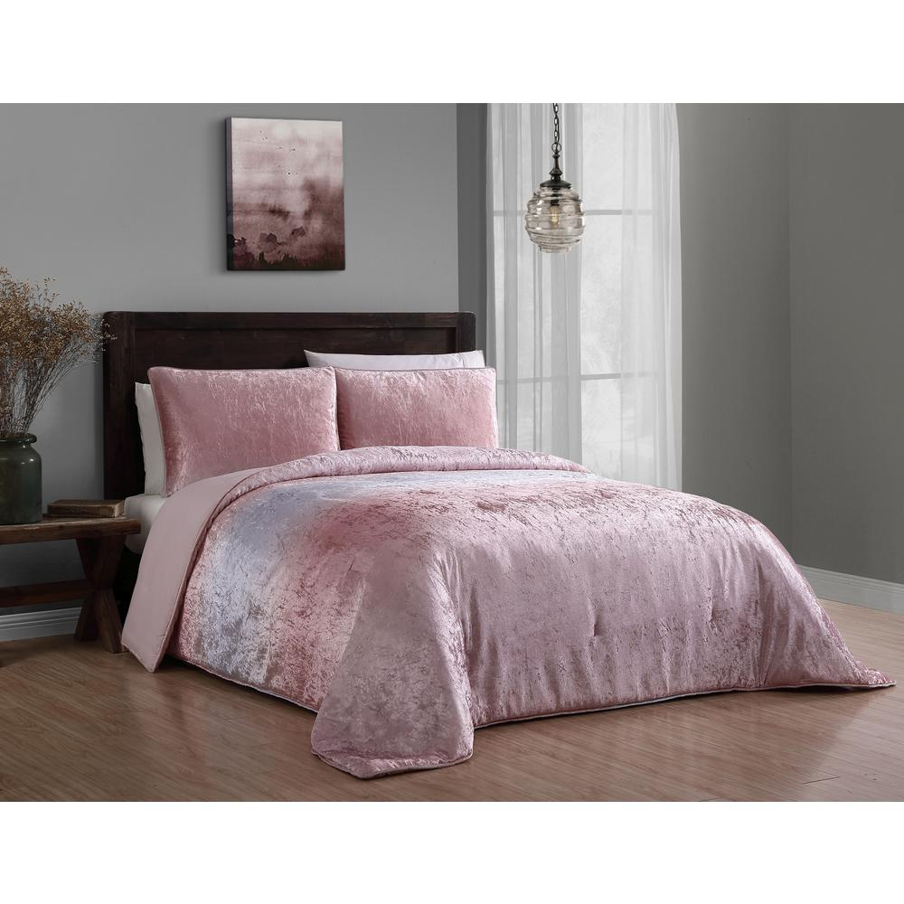 Duvet And Comforter Sets Bradshaw 3 Piece Blush King Velvet Ombre Comforter Set