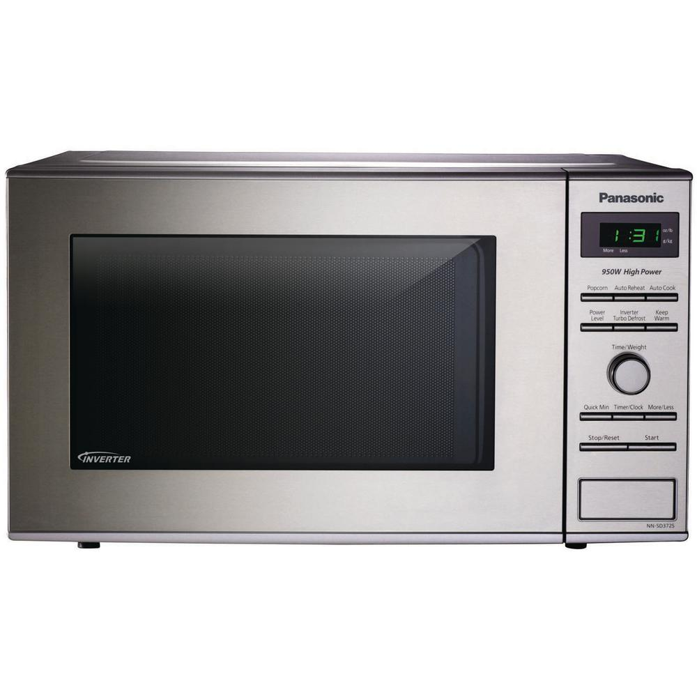 Panasonic 8 Cu Ft Countertop Microwave In Stainless Steel With Inverter Technology Nnsd372s The Home Depot