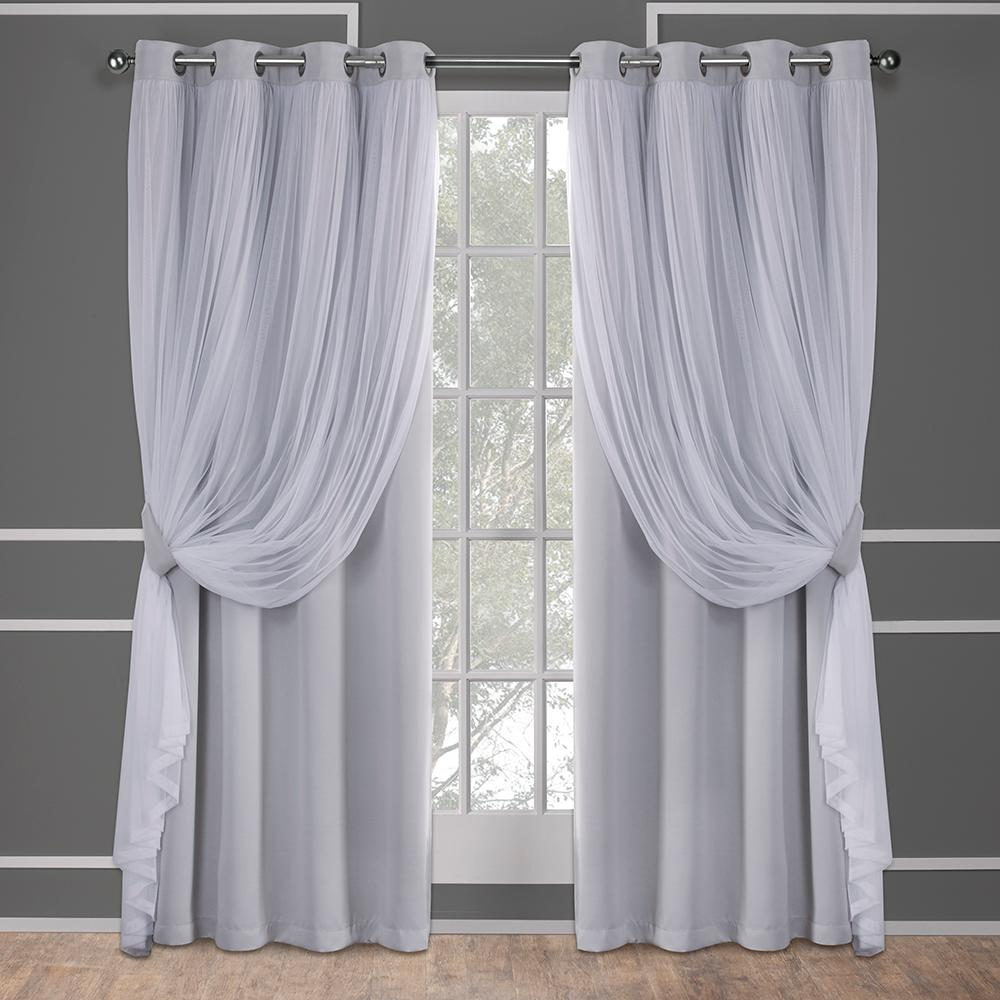 Lavender Sheer Curtains Catarina 52 In W X 96 In L Layered Sheer Blackout Grommet Top Curtain Panel In Cloud Gray 2 Panels