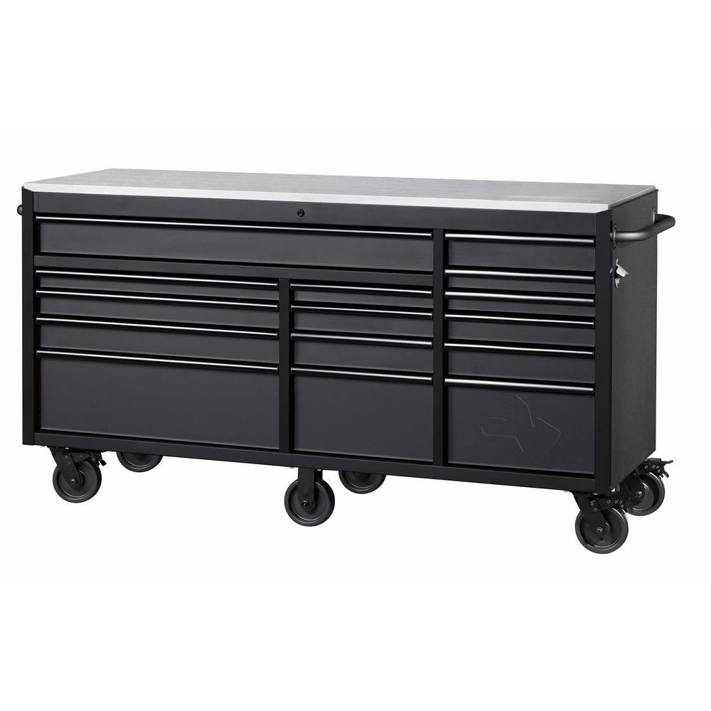 Maximum Heavy Duty Workbench Husky 72 In W X 24 In D 15 Drawer Mobile Workbench With Stainless Steel Top In Textured Black