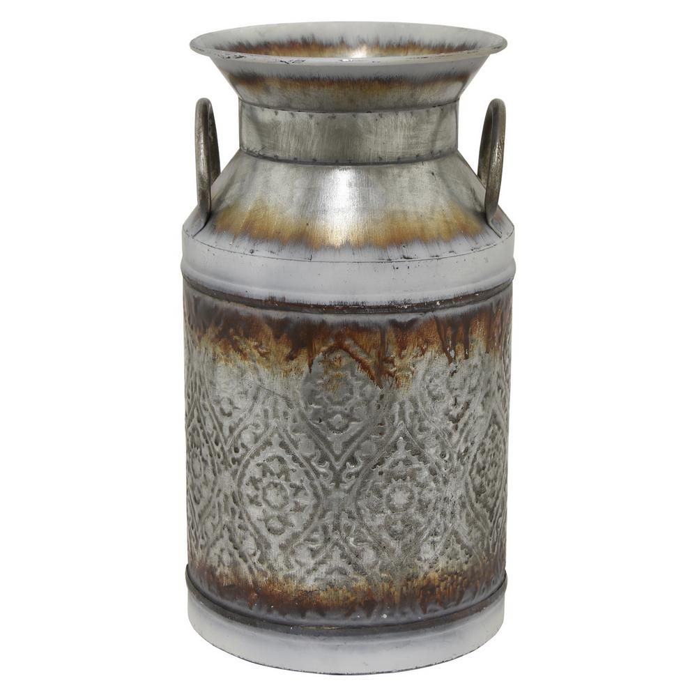Decorative Milk Urn 14 25 In Gray Galvanized Jug