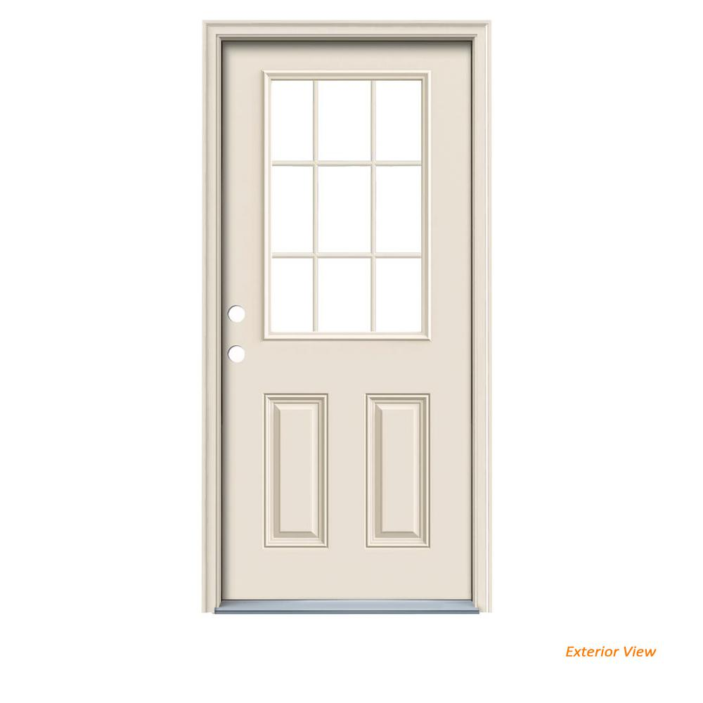 Home Depot Door Casing Jeld Wen 32 In X 80 In 9 Lite Primed Fiberglass Prehung Right Hand Inswing Front Door