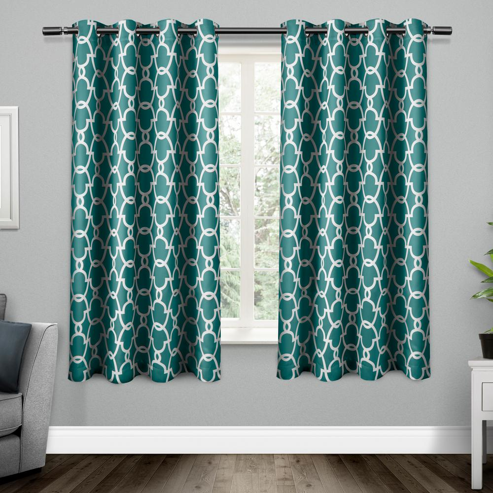 Teal Blackout Curtains Gates 52 In W X 63 In L Woven Blackout Grommet Top Curtain Panel In Teal 2 Panels