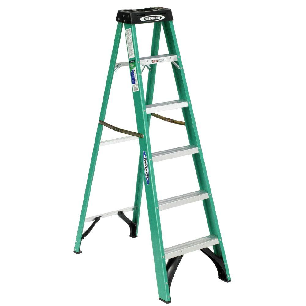 20' Ladder Home Depot Werner 8 Ft Fiberglass Step Ladder With 250 Lb Load Capacity Type I Duty Rating