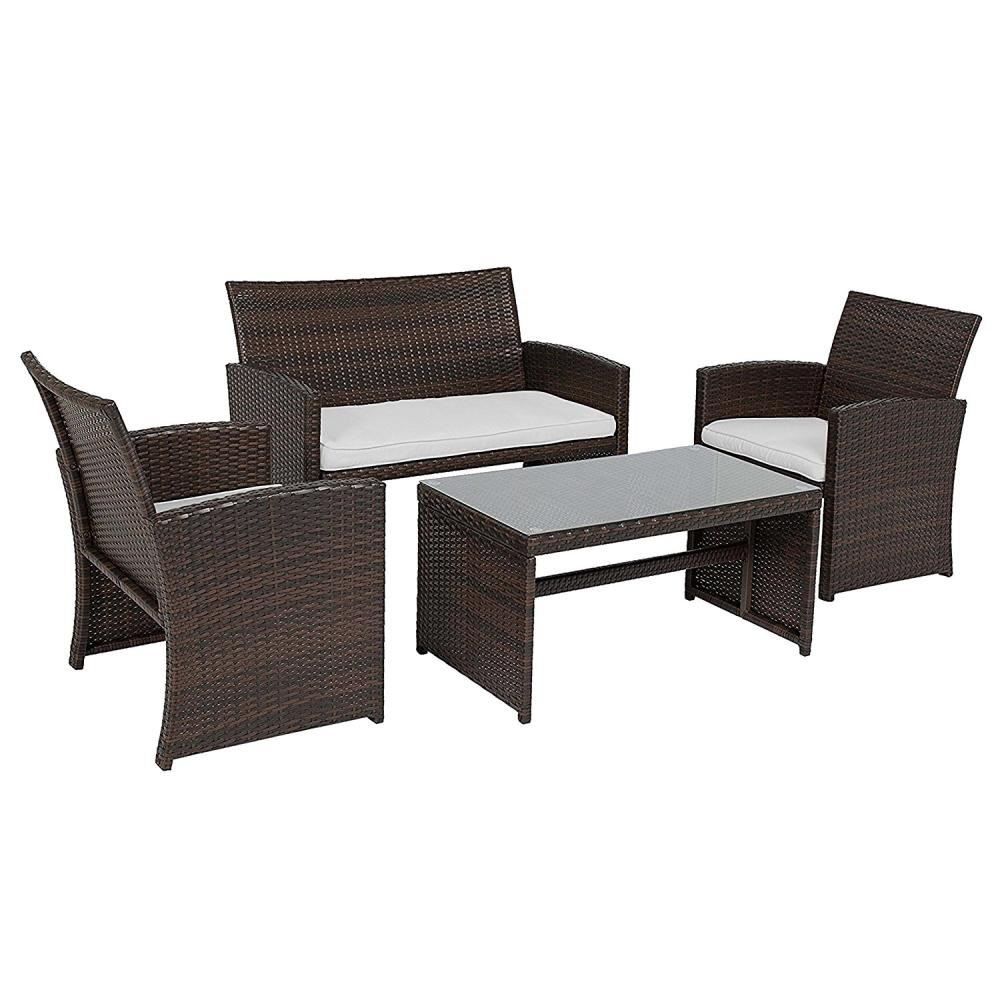 Outdoor Sofa Rattan Aleko 4 Piece Rattan Patio Furniture Set With White Cushions