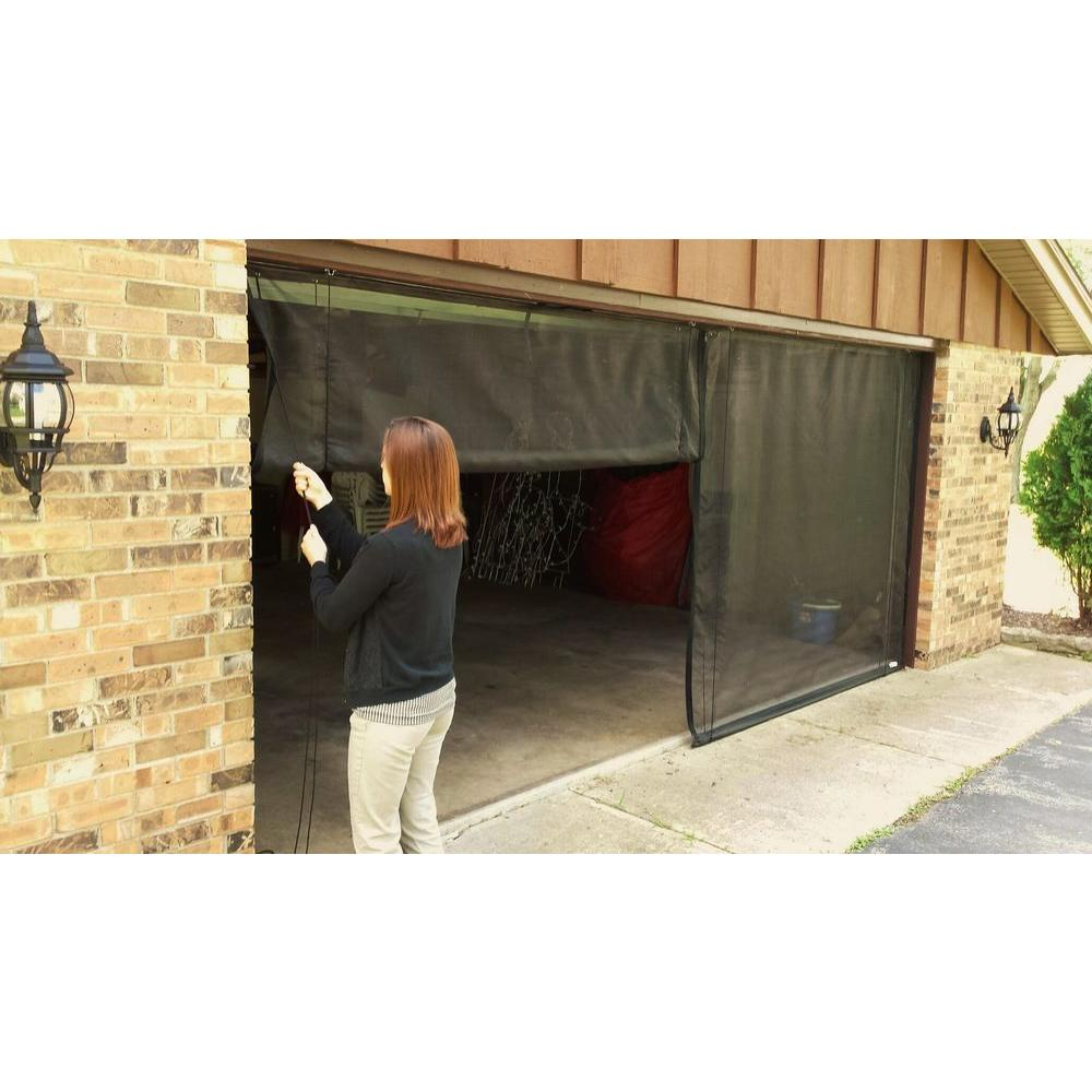 Garage Door Screen That Rolls Up Fresh Air Screens 18 Ft X 7 Ft 3 Zipper Garage Door Screen With Rope Pull