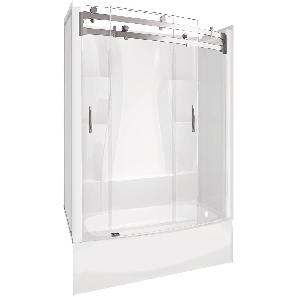 Bath With Shower Delta Classic 400 Curve 30 In X 60 In X 78 In Standard Fit Bath And Shower Kit With Right Hand Drain In White
