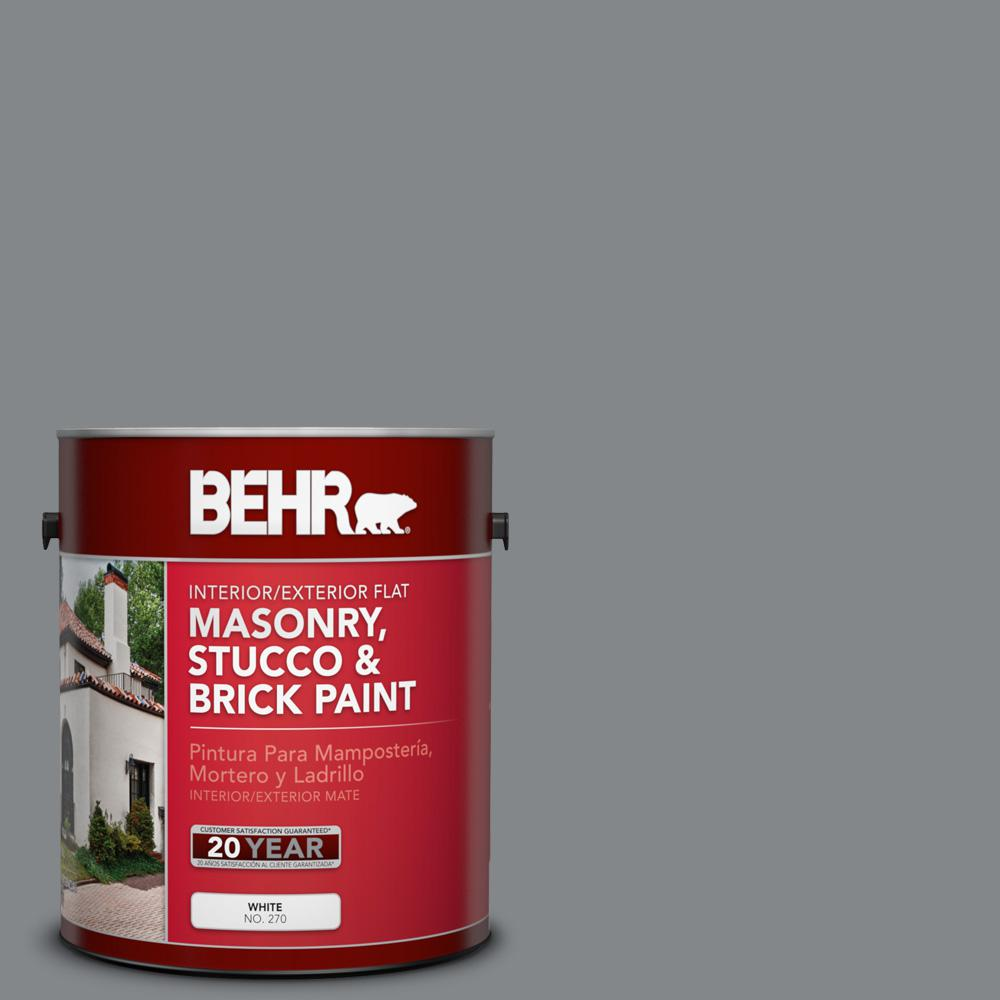 Brick Paint Colors Interior Behr 1 Gal N500 5 Magnetic Gray Color Flat Interior Exterior Masonry Stucco And Brick Paint