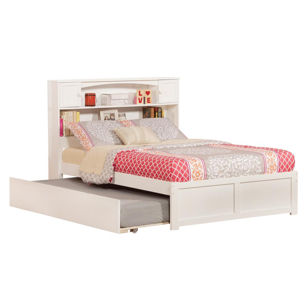 Discount Trundle Beds Atlantic Furniture Newport White Full Platform Bed With Flat Panel Foot Board And Twin Size Urban Trundle Bed