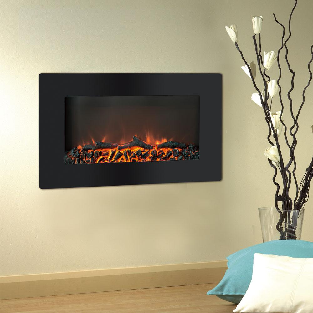 Wall Fireplace Gas Cambridge Callisto 30 In Wall Mount Electronic Fireplace With Flat Panel And Realistic Logs In Black