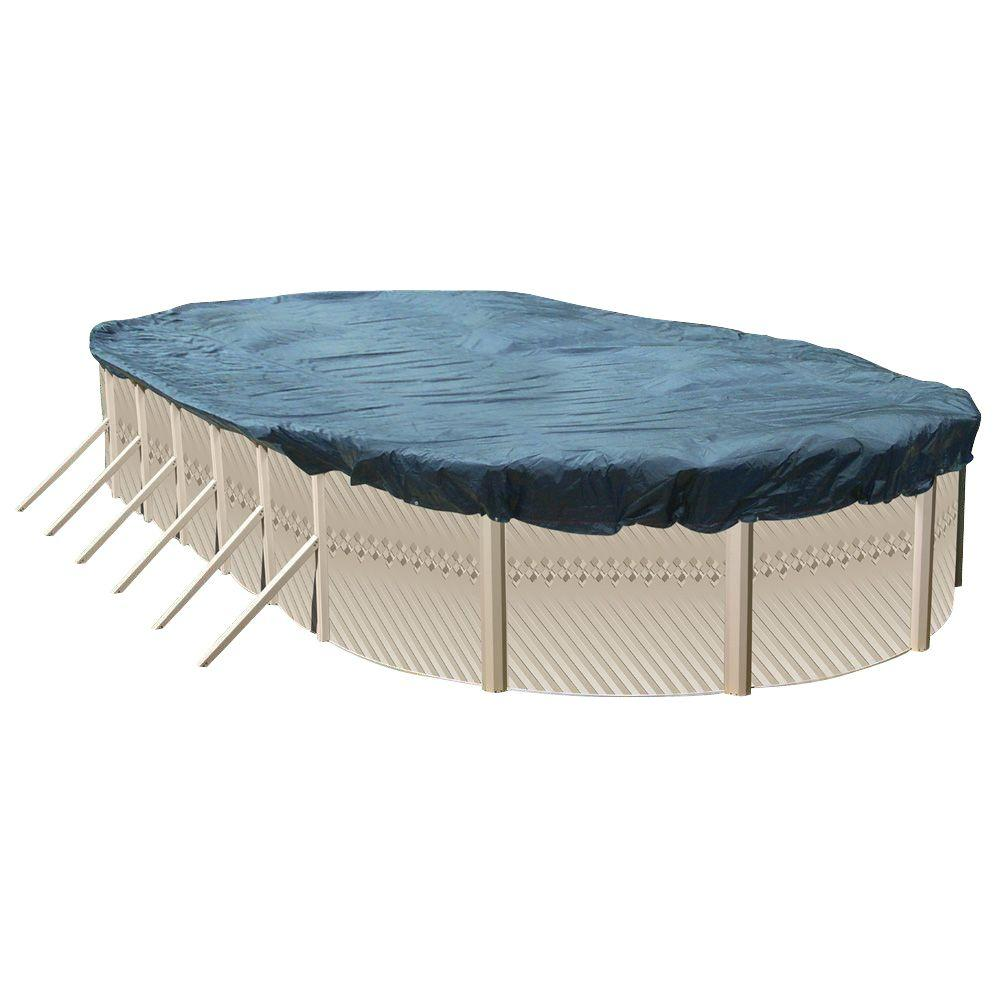 Above Ground Pool Winter Cover Null Heritage 18 Ft X 12 Ft Oval Blue Solid Above Ground Winter Cover