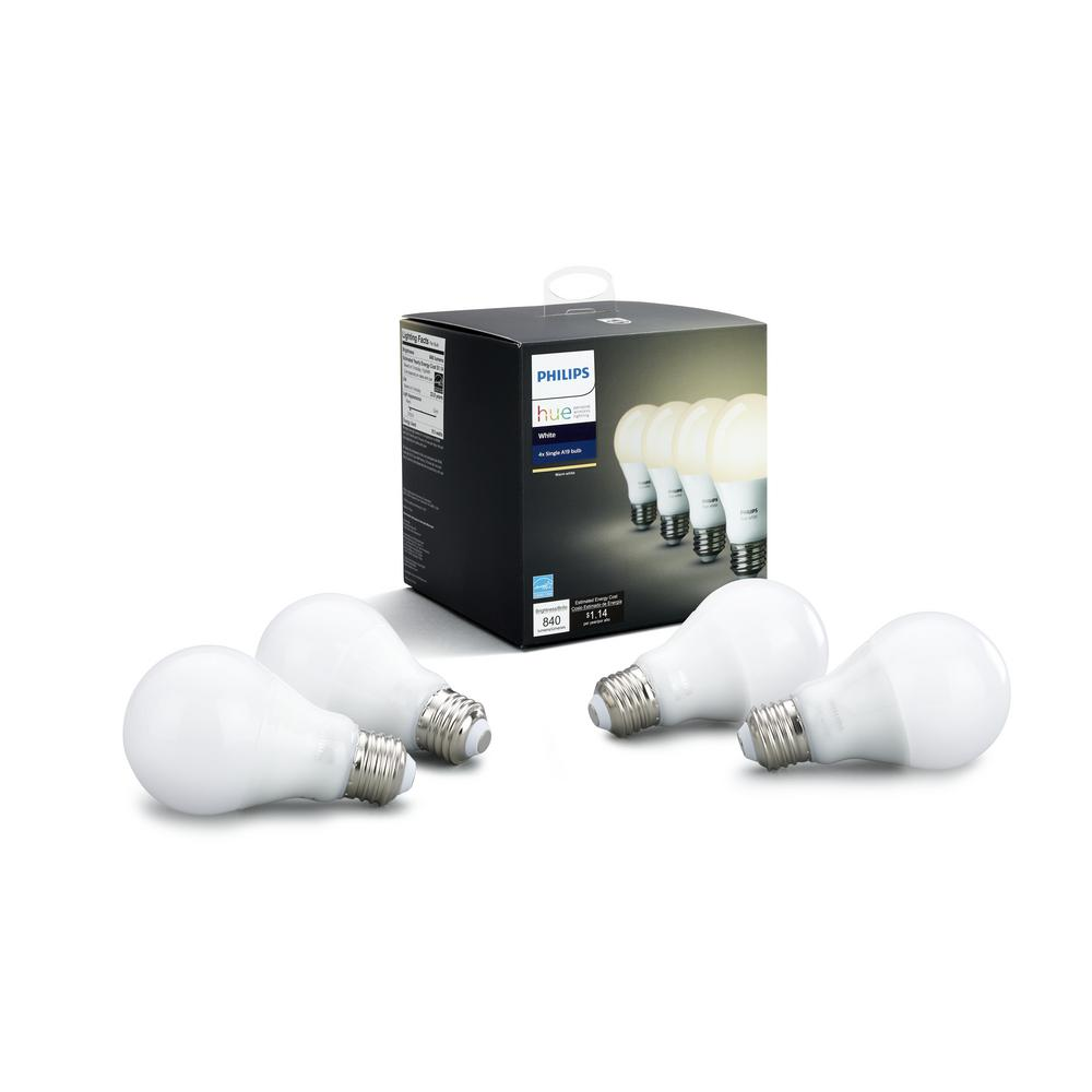 Philips Hub Philips Hue White A19 Led 60w Equivalent Dimmable Smart Wireless Bulb 4 Pack