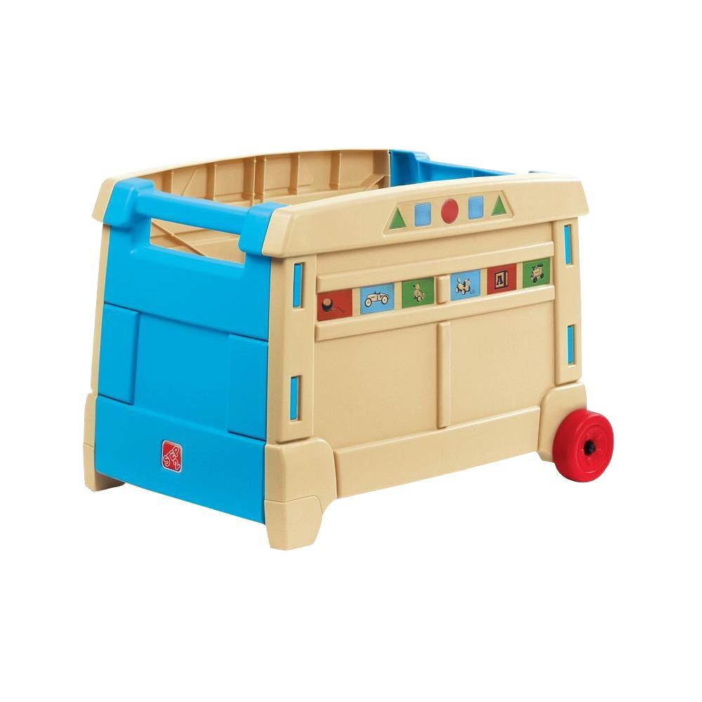Toy Box Toys Step2 Blue And Tan Lift And Roll Toy Box