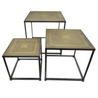 THREE HANDS 23.5 in. Brown Wood Top End Table (Set of 3 ...