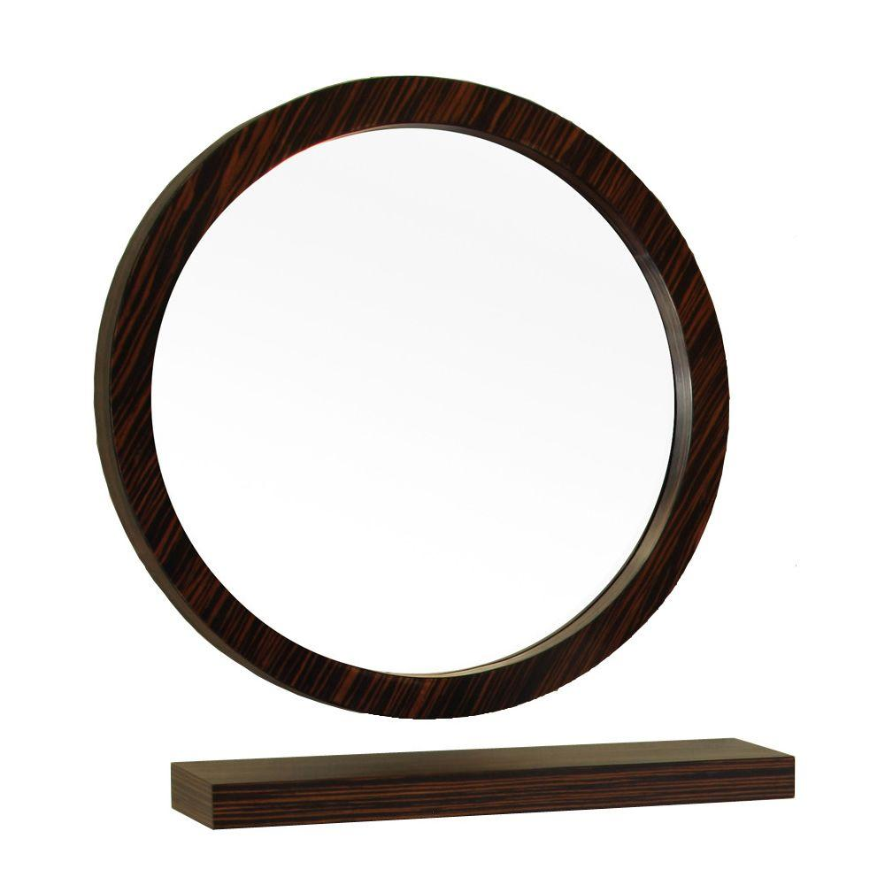 Oval Mirror Wood Frame Bellaterra Home Indianola 22 In L X 22 In W Solid Wood Frame Round Wall Mirror In Ebony Zebra