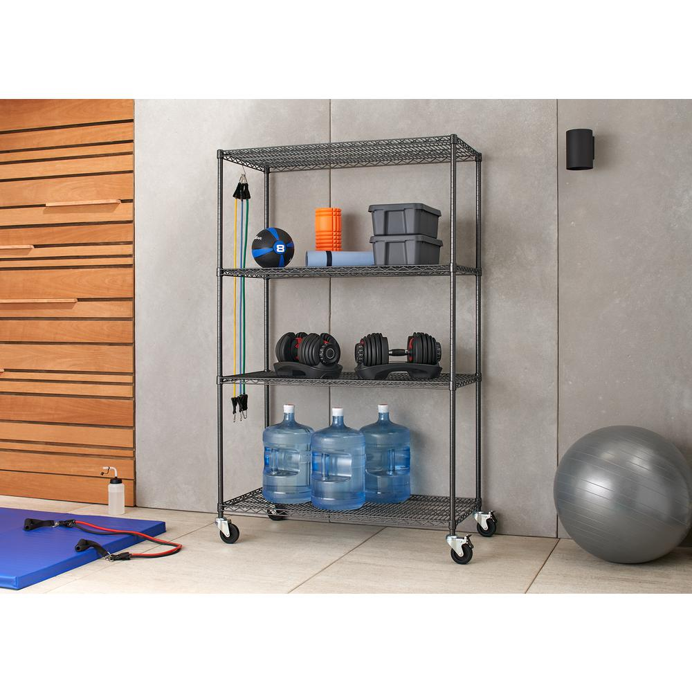 Garage Shelving Units Trinity Pro 24 In X 48 In X 77 In Black Anthracite 4 Tier Garage Shelving Unit With Wheels