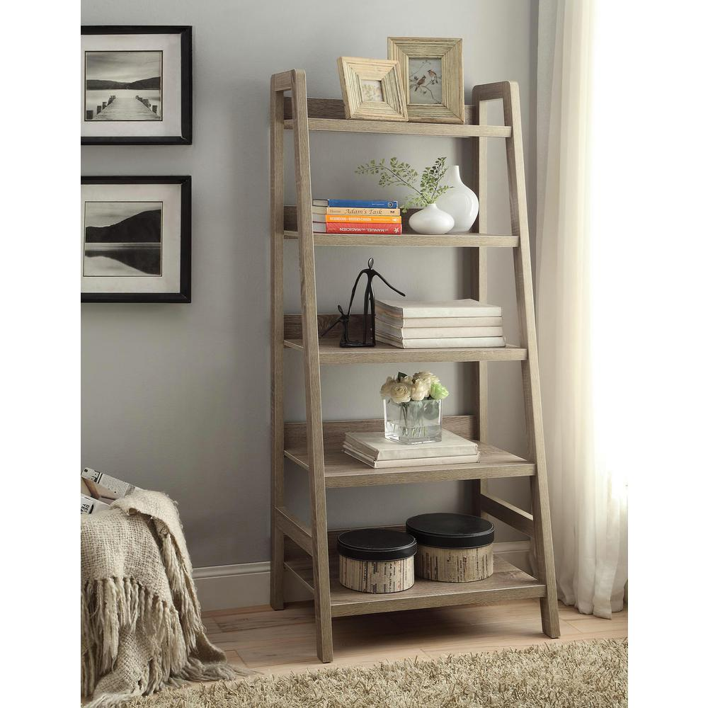 Linon Home Decor Tracey Gray Ladder Bookcase 69336gry01u