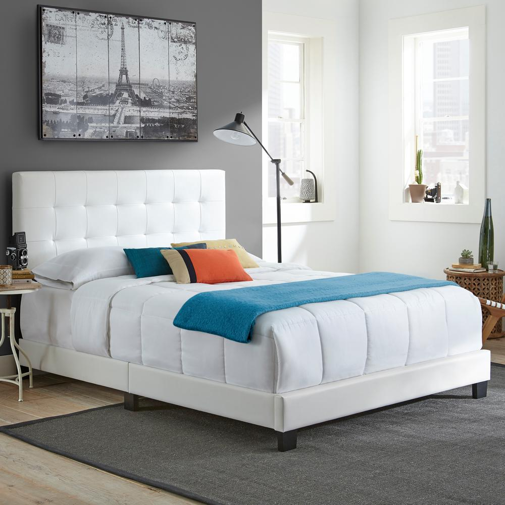 White Platform Bed Without Headboard Rest Rite Channing White Full Tufted Upholstered Platform Bed