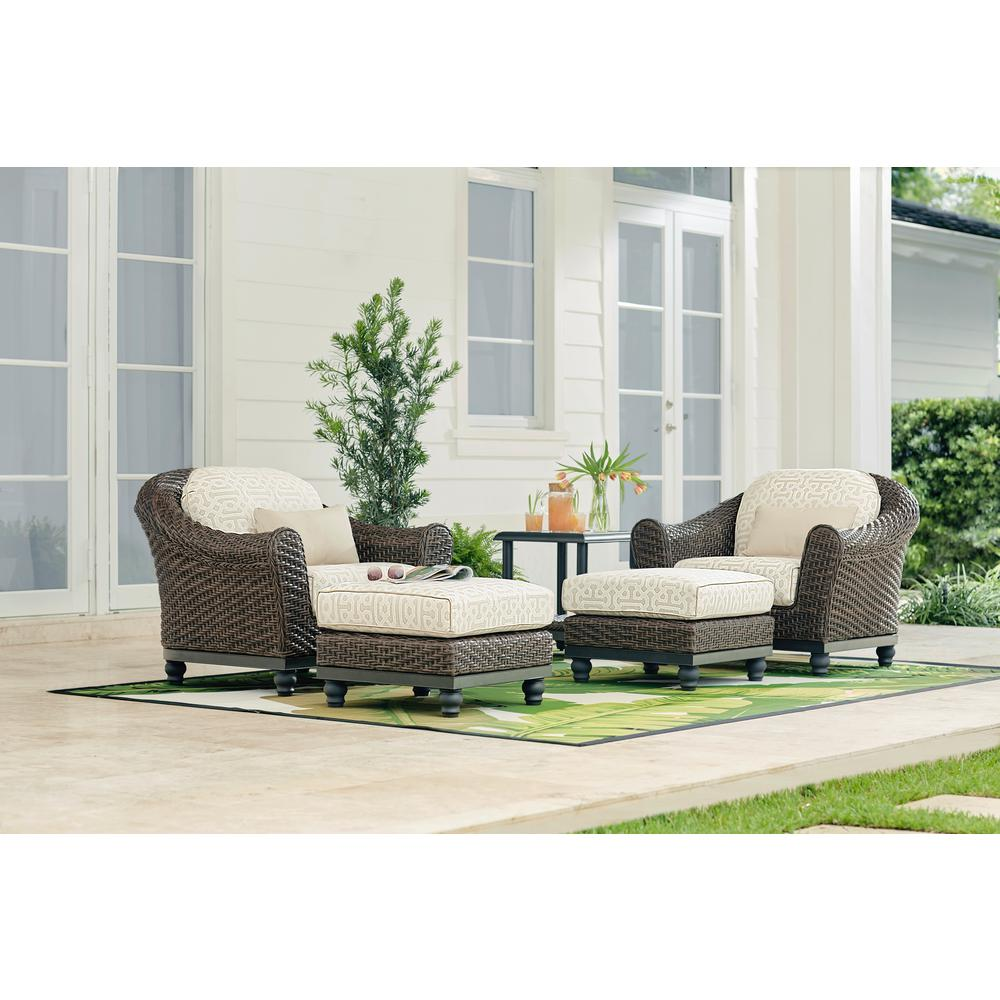 Outdoor Lounge Home Decorators Collection Camden Dark Brown Stationary Wicker Outdoor Lounge Chair With Sunbrella Fretwork Flax Cushions 2 Pack