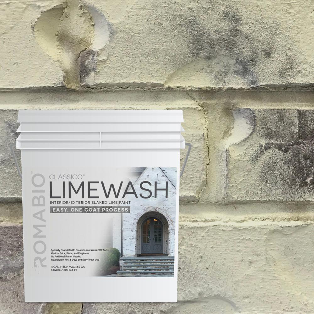 Lime Wash Brick Fireplace Romabio 4 Gal Tropea Beige Limewash Interior Exterior Paint