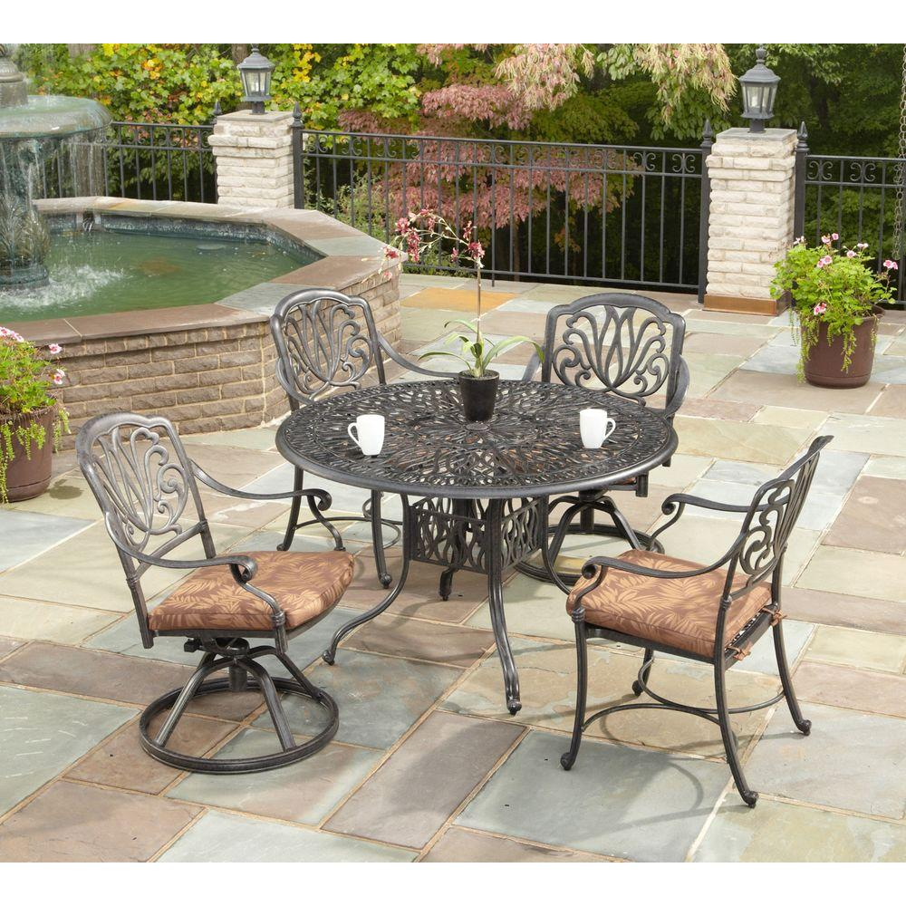 Round Table Patio Furniture Sets Home Styles Floral Blossom 48 In Round 5 Piece Patio Dining Set With Burnt Sierra Leaf Cushions