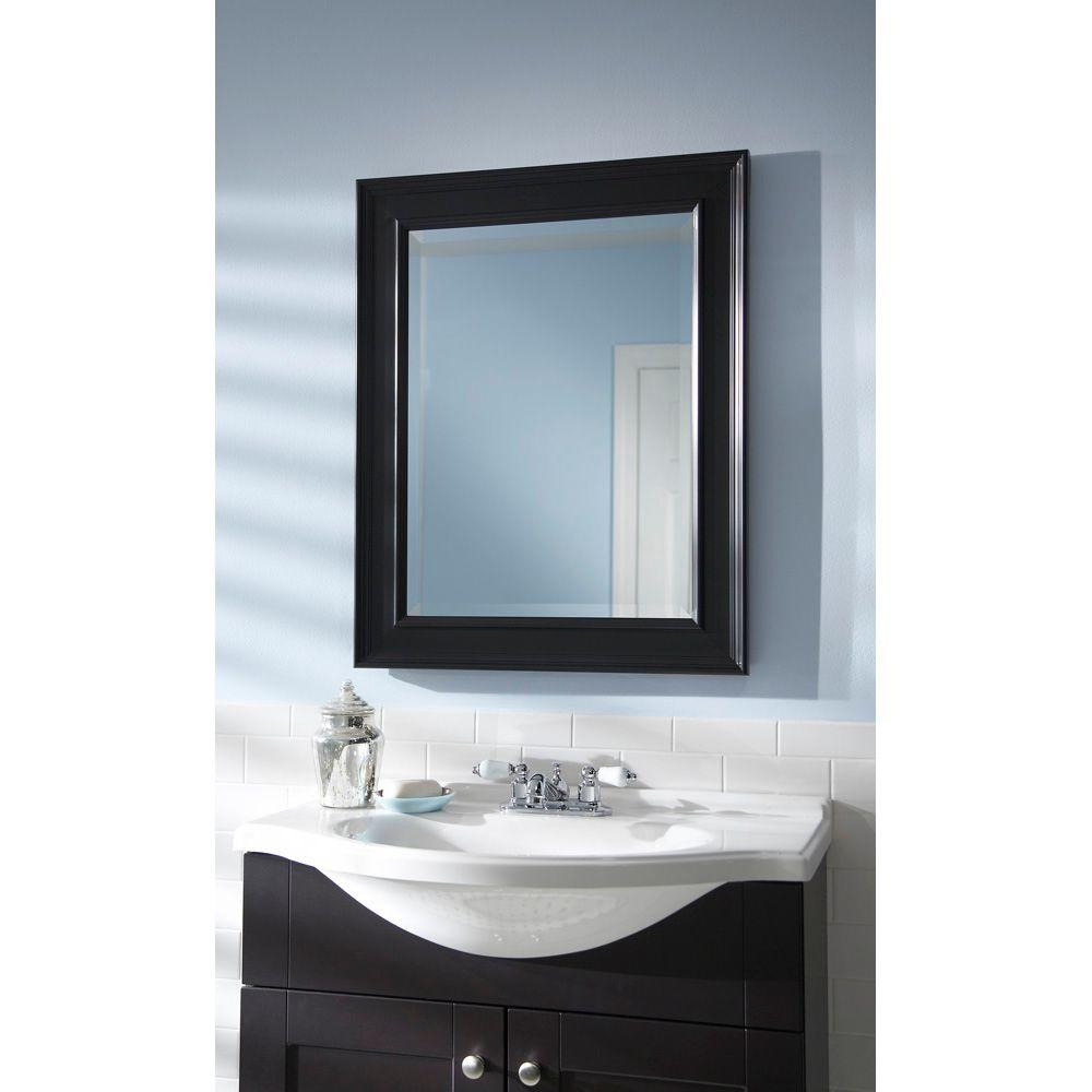Mcs Medium Rectangle Black Beveled Glass Casual Mirror 30 In H X 24 In W 48815 The Home Depot